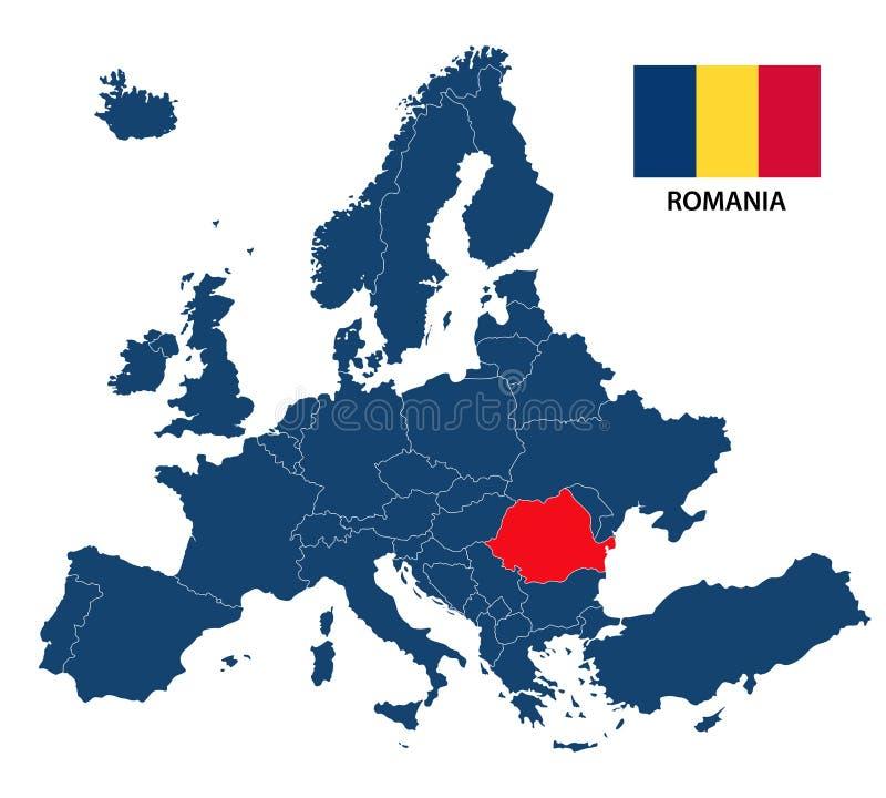 Vector el ejemplo de un mapa de Europa con Rumania destacada ilustración del vector