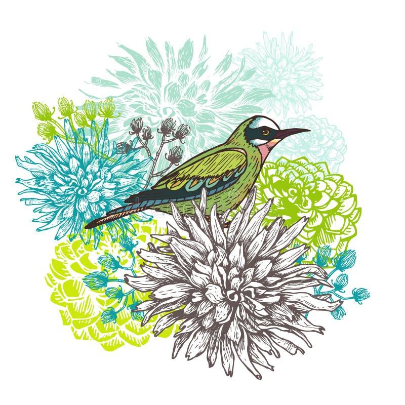 Vector el ejemplo de un pequeño pájaro y de flores florecientes de la dalia stock de ilustración