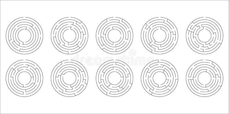 Vector el ejemplo de un sistema de diez laberintos circulares stock de ilustración