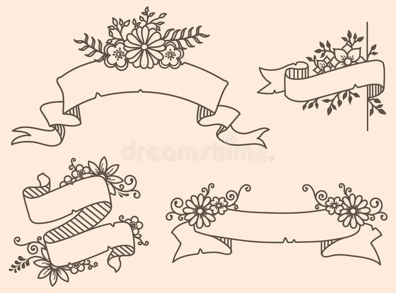 Vector el ejemplo de una colección de cintas florales stock de ilustración