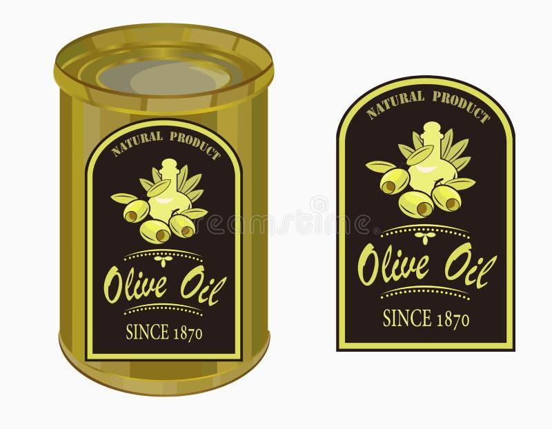 Vector el ejemplo de una etiqueta del aceite de oliva ilustración del vector