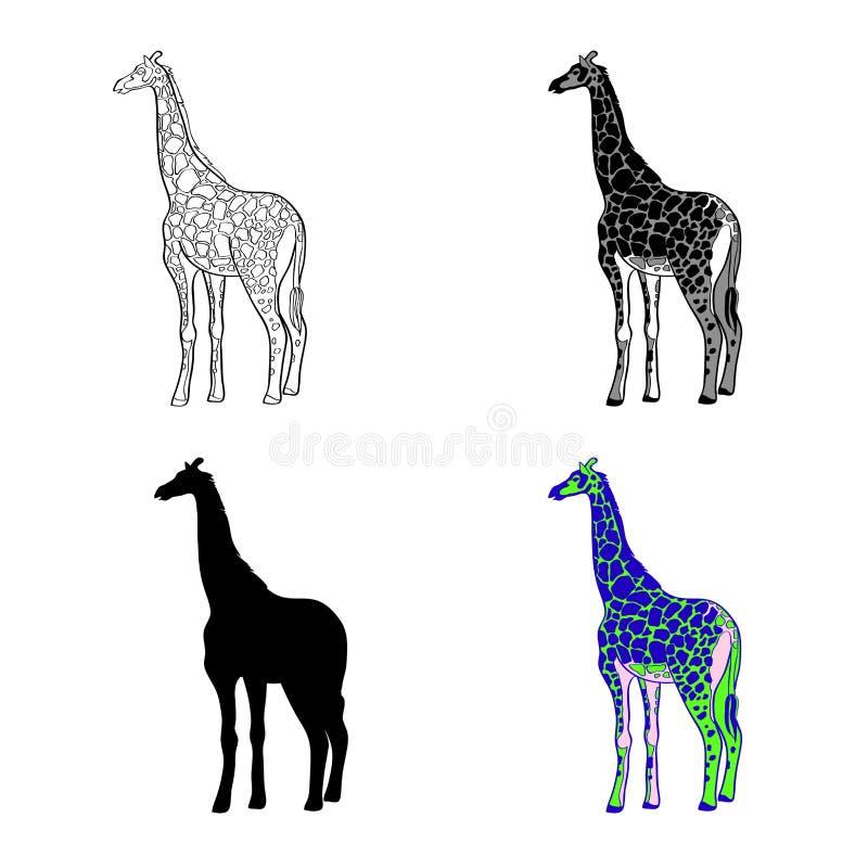 Vector el ejemplo de una imagen de una jirafa Línea blanco y negro, punto negro de la silueta, blanco y negro y gris multicolor ilustración del vector