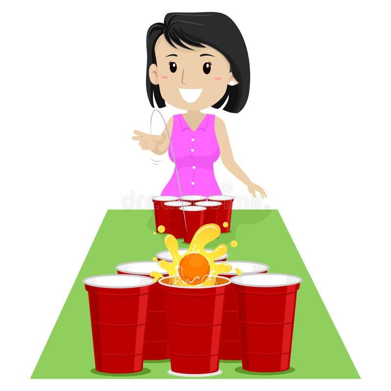 Vector el ejemplo de una muchacha que juega la cerveza Pong libre illustration