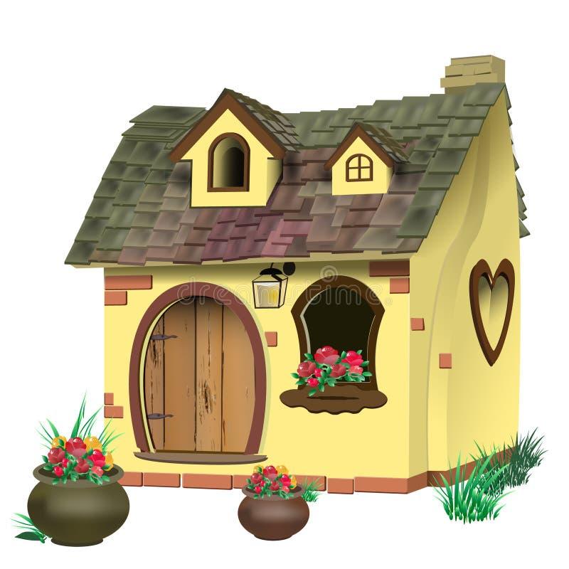 Vector el ejemplo de una pequeña casa de hadas con el tejado tejado stock de ilustración