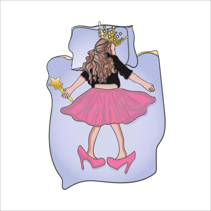 Vector el ejemplo de una princesa durmiente con la corona ilustración del vector