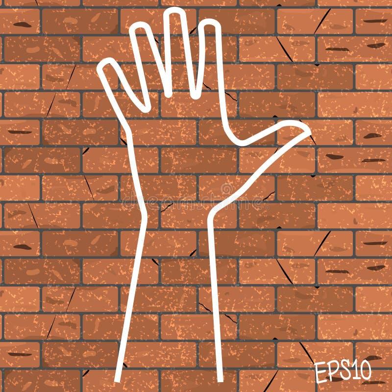 Vector el ejemplo de una tiza exhausta en un manojo marrón del esquema de la pared de ladrillo de fives libre illustration
