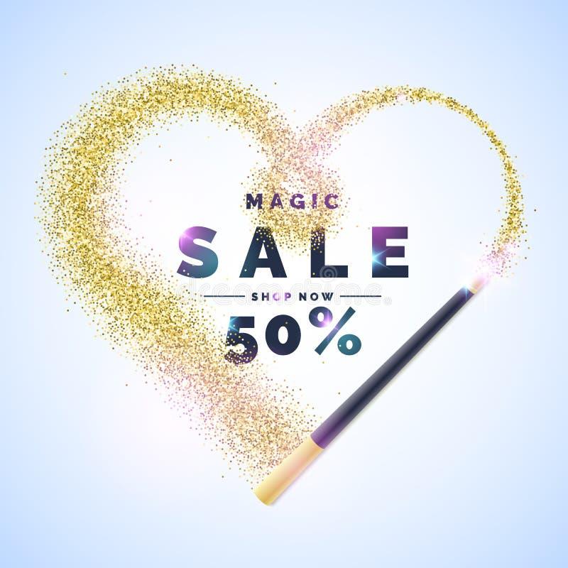 Vector el ejemplo de una venta mágica con una vara mágica y un corazón brillante del brillo Cartel brillante stock de ilustración