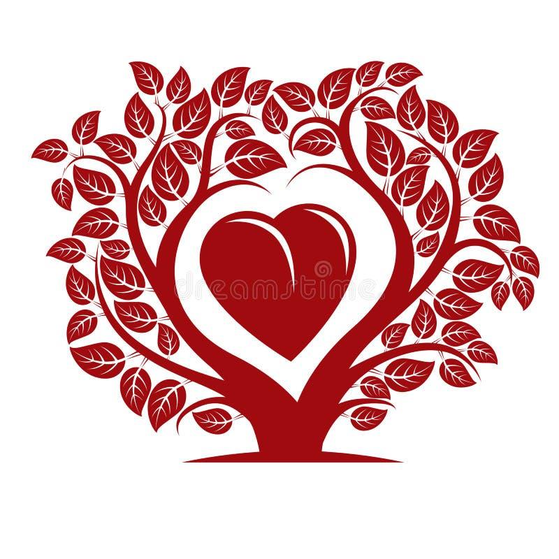 Vector el ejemplo del árbol con las ramas en la forma de corazón ilustración del vector
