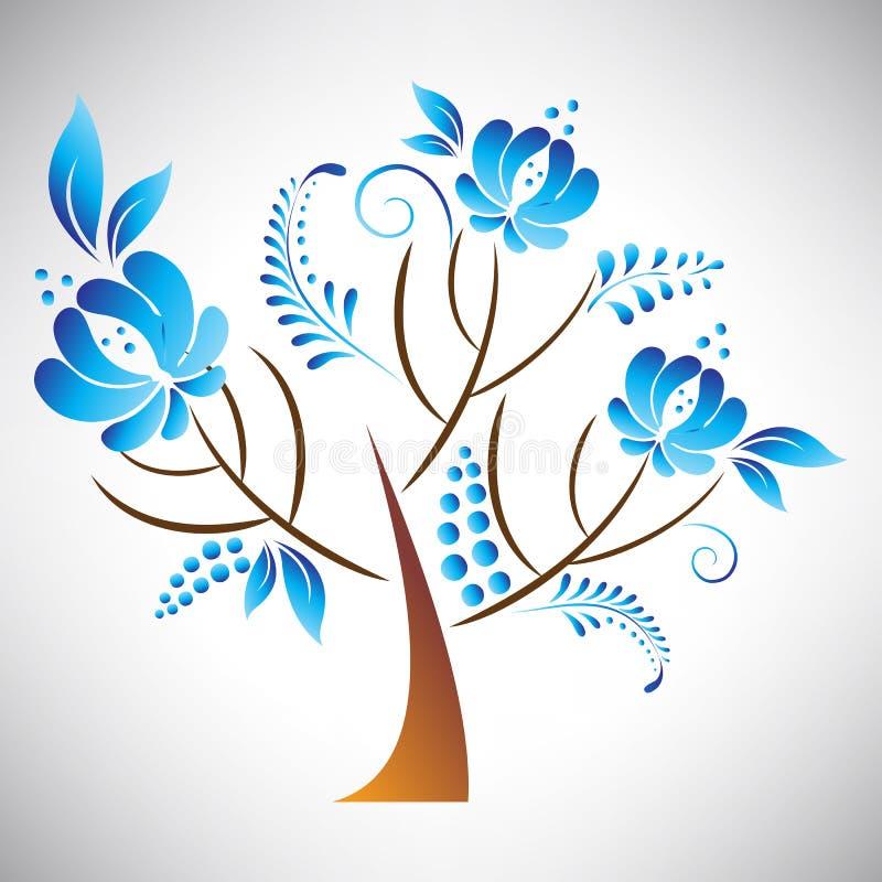 Vector el ejemplo del árbol hermoso abstracto con el elemento floral azul en la hoja rusa del estilo del gzhel libre illustration