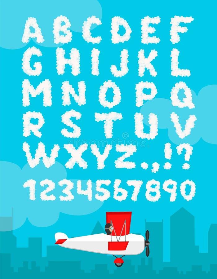 Vector el ejemplo del alfabeto de la nube aislado en un fondo del cielo azul y del paisaje de la ciudad Decoración nublada del di stock de ilustración