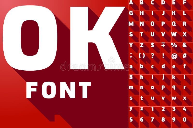 Vector el ejemplo del alfabeto largo moderno plano de la sombra ilustración del vector