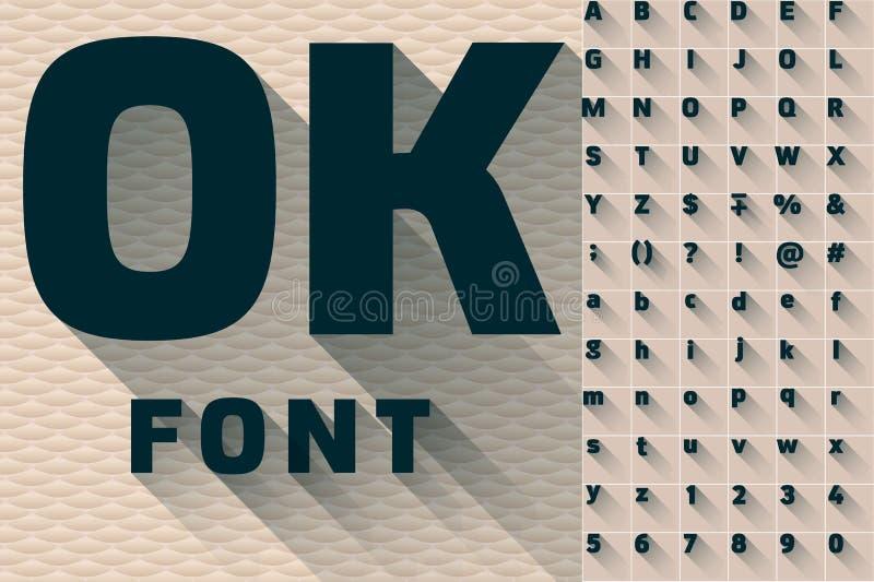 Vector el ejemplo del alfabeto transparente largo moderno plano de la sombra ilustración del vector