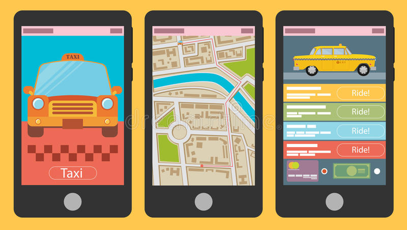 Vector el ejemplo del app móvil para el taxi de reservación ilustración del vector