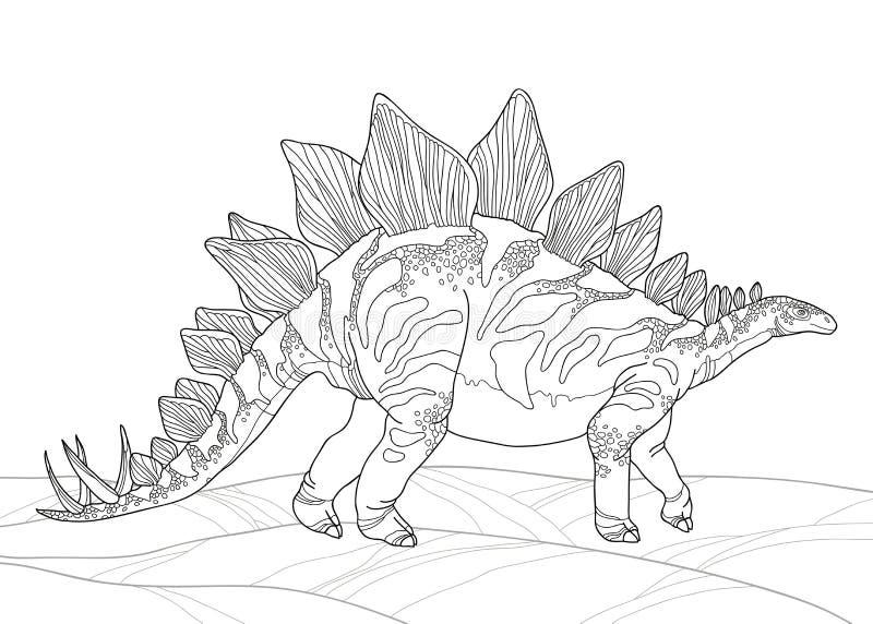 Vector el ejemplo del armatus del Stegosaurus o del lagarto cubierto aislado en el fondo blanco Serie de dinosaurios prehistórico libre illustration