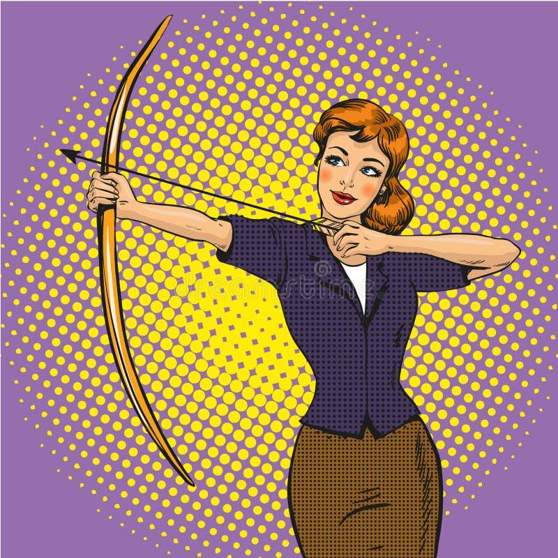 Vector el ejemplo del arquero de la señora, estilo cómico retro del arte pop libre illustration