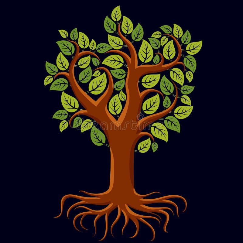 Vector el ejemplo del arte del árbol rameado con las raíces fuertes Árbol stock de ilustración