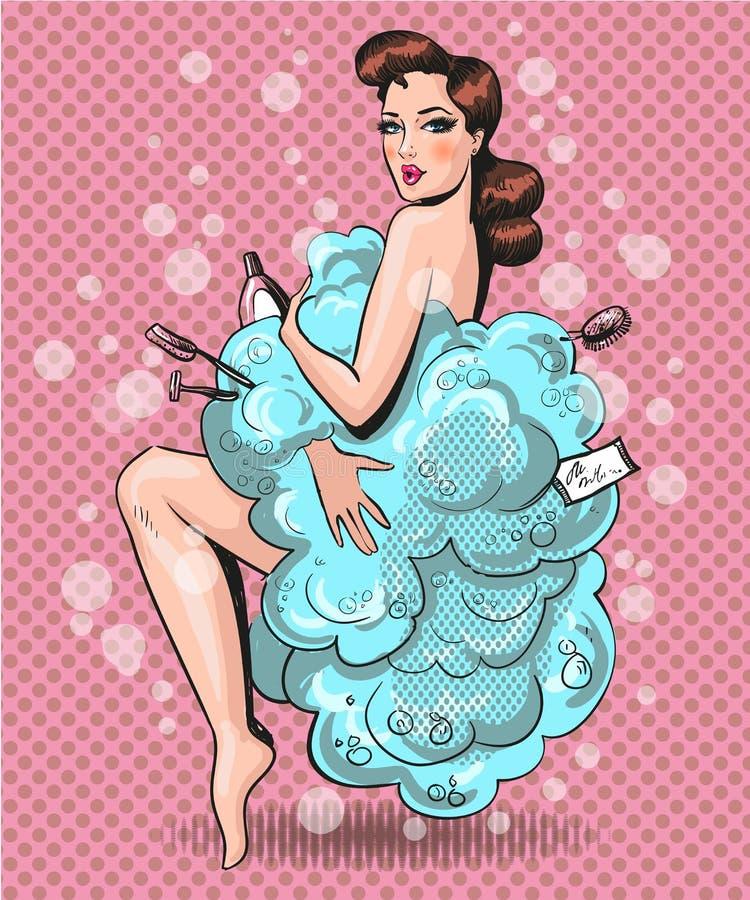 Vector el ejemplo del arte pop de la mujer bonita en espuma del baño ilustración del vector