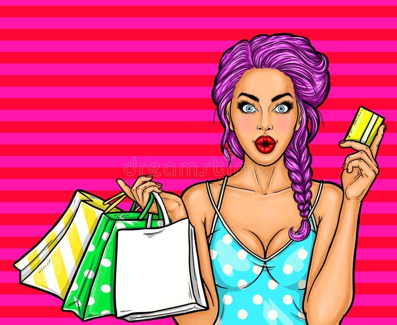 Vector el ejemplo del arte pop de una muchacha atractiva joven que sostiene los panieres y la tarjeta de crédito stock de ilustración