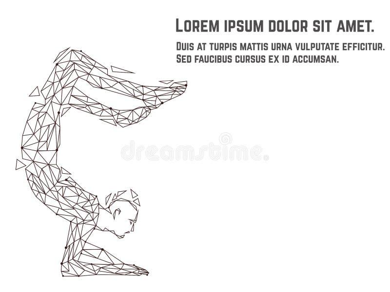 Vector el ejemplo del asana practicante de la yoga de la mujer hecho de polígono y puntea técnica Corazón rojo dentro fotos de archivo