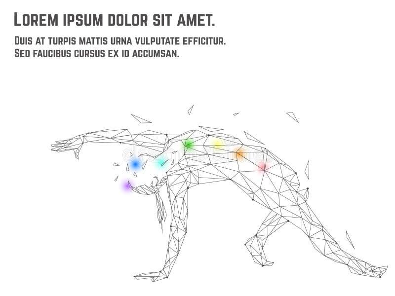 Vector el ejemplo del asana practicante de la yoga de la mujer hecho de polígono y puntea técnica Corazón rojo dentro foto de archivo libre de regalías
