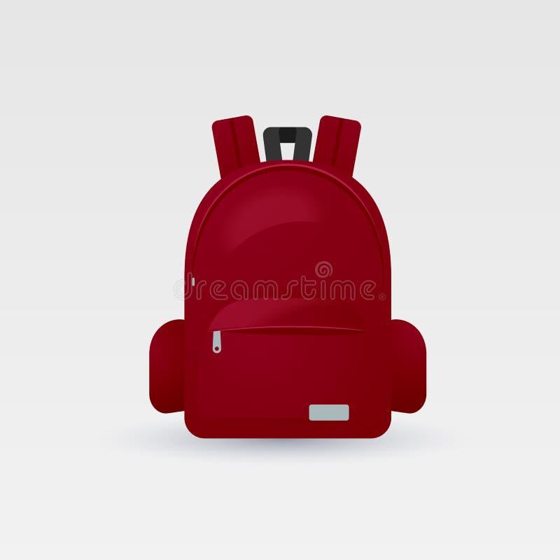 Vector el ejemplo del bolso de escuela rojo, mochila, aislada en el fondo blanco ilustración del vector