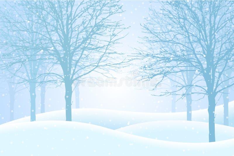 Vector el ejemplo del bosque del invierno con la nieve y la niebla, suitabl stock de ilustración