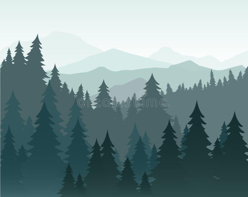 Vector el ejemplo del bosque del pino y del fondo del vector de las montañas Bosque, silueta del abeto y montañas coníferos adent stock de ilustración