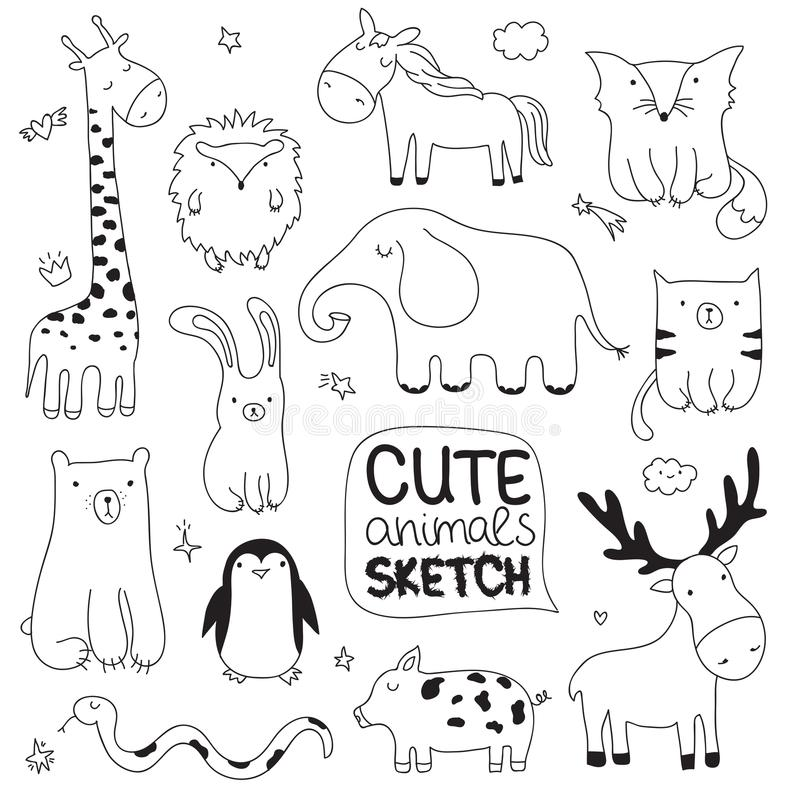 Vector el ejemplo del bosquejo de la historieta con los animales lindos del garabato imagenes de archivo