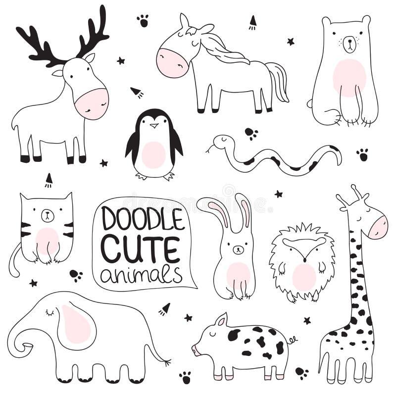 Vector el ejemplo del bosquejo de la historieta con los animales lindos del garabato imágenes de archivo libres de regalías
