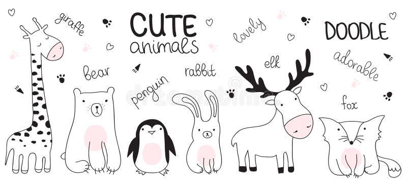Vector el ejemplo del bosquejo de la historieta con los animales lindos del garabato fotografía de archivo libre de regalías