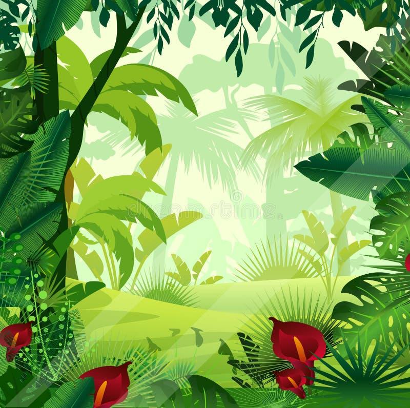 Vector el ejemplo del césped de la selva del fondo en tiempo de mañana Selva colorida brillante con los helechos, árboles, arbust libre illustration