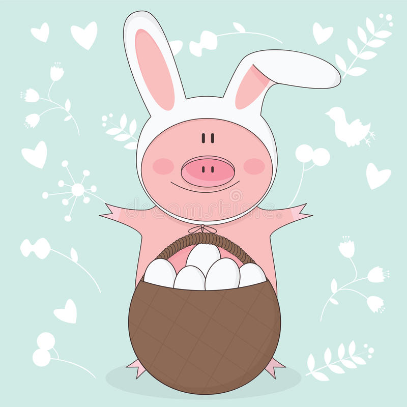 Vector el ejemplo del cerdo de Pascua con los oídos del conejito libre illustration