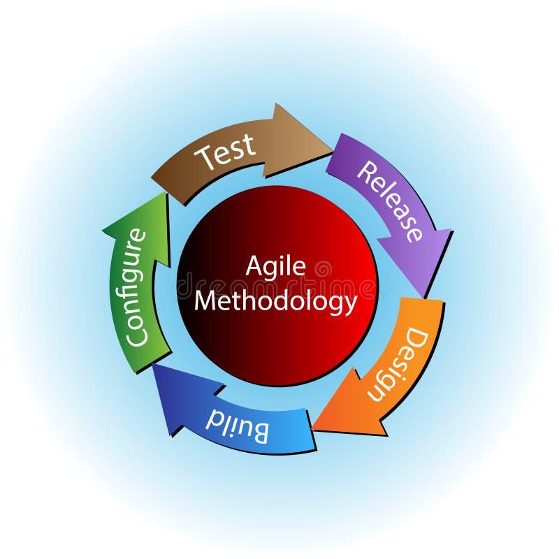 Vector el ejemplo del ciclo de vida de desarrollo ágil de la metodología y de programas stock de ilustración