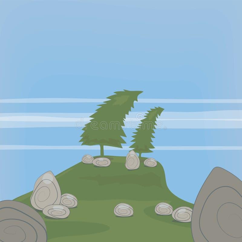 Vector el ejemplo del ejemplo con dos abetos curvados en una colina y piedras grises de la roca contra un fondo de la hierba verd ilustración del vector