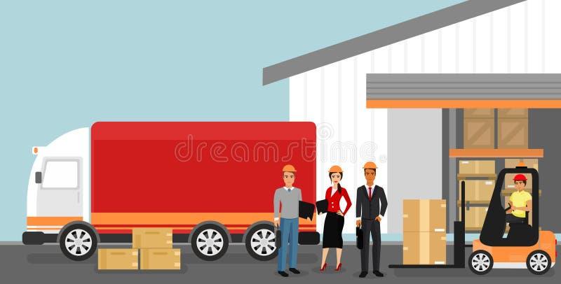 Vector el ejemplo del concepto de almacén con los trabajadores, concepto de la logística Entrega y transporte de mercancías ilustración del vector