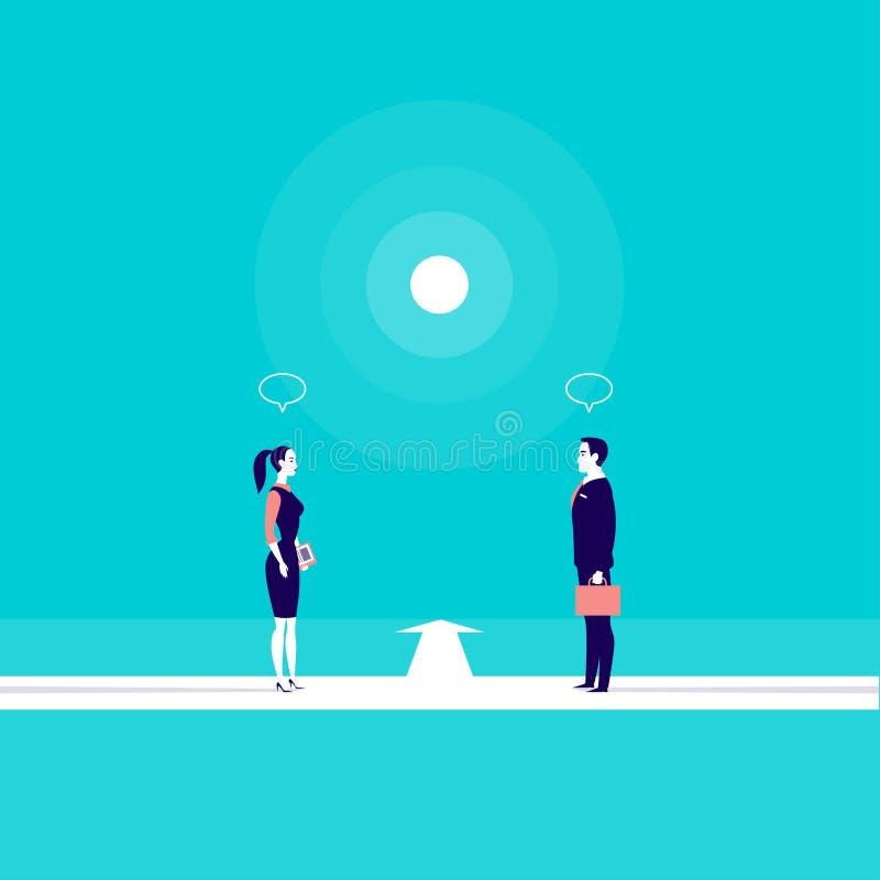 Vector el ejemplo del concepto del negocio con el hombre y la señora de la oficina que se colocan delante de uno a, libre illustration