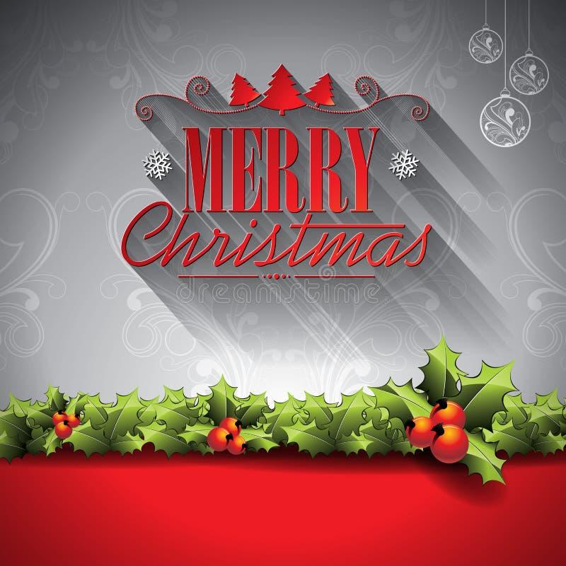 Vector el ejemplo del día de fiesta en un tema de la Navidad con los elementos tipográficos en fondo de los ornamentos libre illustration