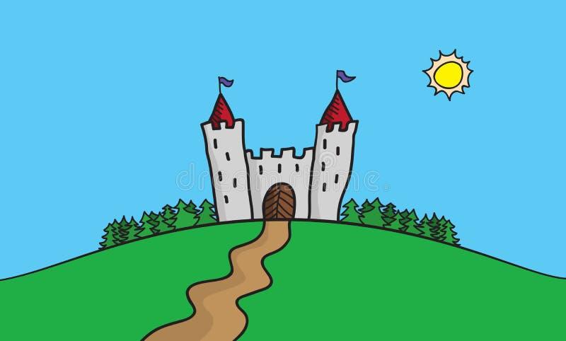 Vector el ejemplo del drenaje de la escena con el castillo en la colina en el destino más forrest del viaje del verano stock de ilustración