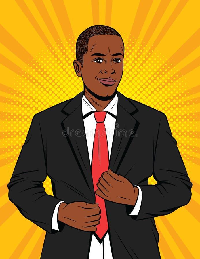 Vector el ejemplo del estilo del arte pop del color de un hombre de negocios en traje ilustración del vector
