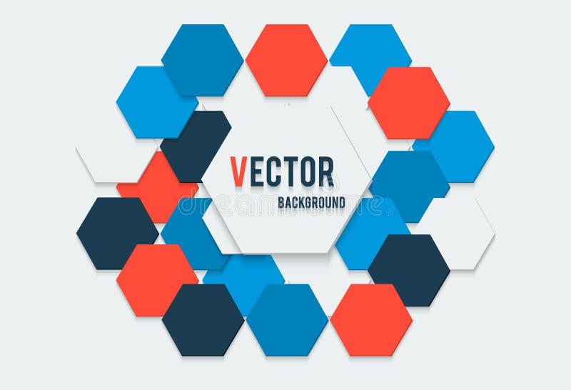 Vector el ejemplo del fondo abstracto con los colores azules del polígono y oscuros rojos blancos con la bandera ilustración del vector