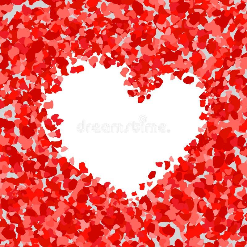 Vector el ejemplo del fondo abstracto con los pétalos color de rosa Corazón stock de ilustración