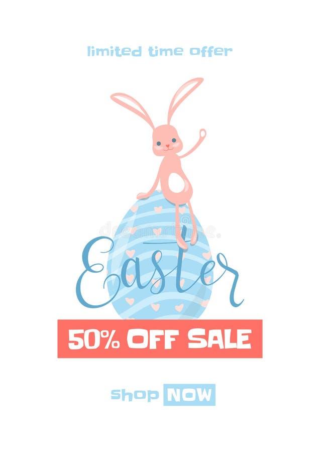 Vector el ejemplo del fondo de la venta de la primavera de pascua con el conejito lindo stock de ilustración
