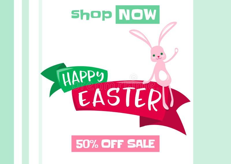 Vector el ejemplo del fondo de la venta de la primavera de pascua con el conejito lindo libre illustration