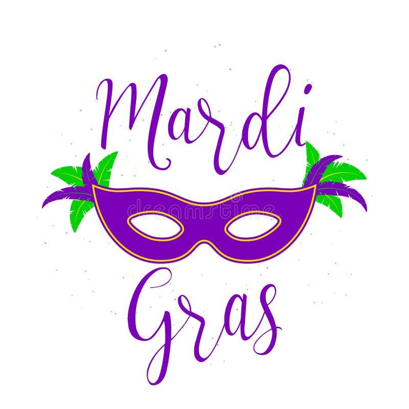 Vector el ejemplo del fondo de Mardi Gras con el texto de la tipografía libre illustration