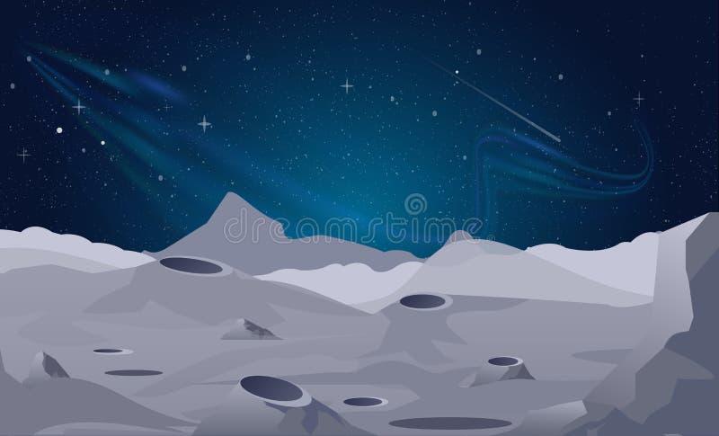 Vector el ejemplo del fondo del paisaje de la luna con el cielo nocturno hermoso stock de ilustración
