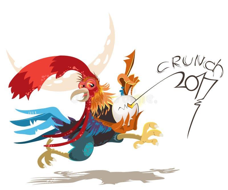 Vector el ejemplo del gallo, símbolo 2017 en el calendario chino Gallo rojo de la silueta, adornado con los estampados de flores libre illustration