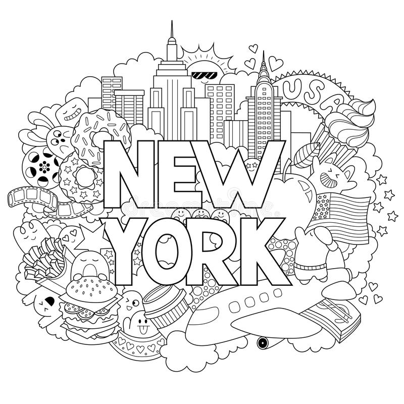 Vector el ejemplo del garabato que muestra arquitectura y la cultura de Nueva York Fondo abstracto con el texto dibujado mano nue ilustración del vector