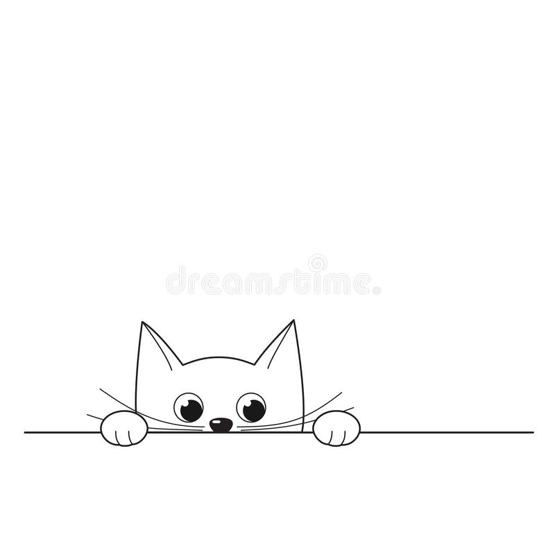 Vector el ejemplo del gatito que mira a escondidas lindo del esquema aislado en w libre illustration