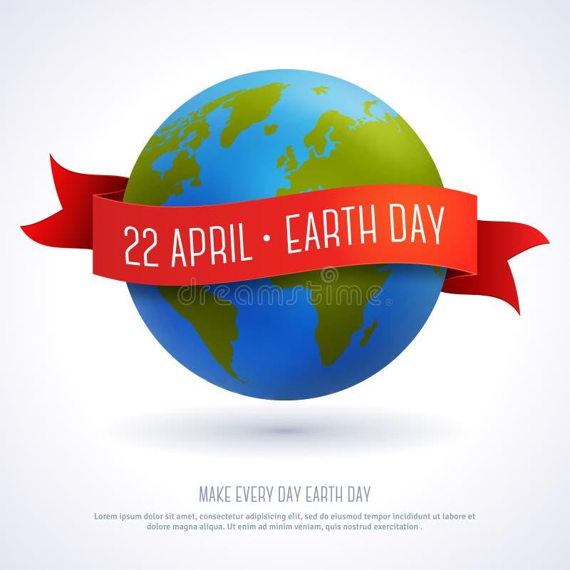 Vector el ejemplo del globo de la tierra con la cinta roja ilustración del vector