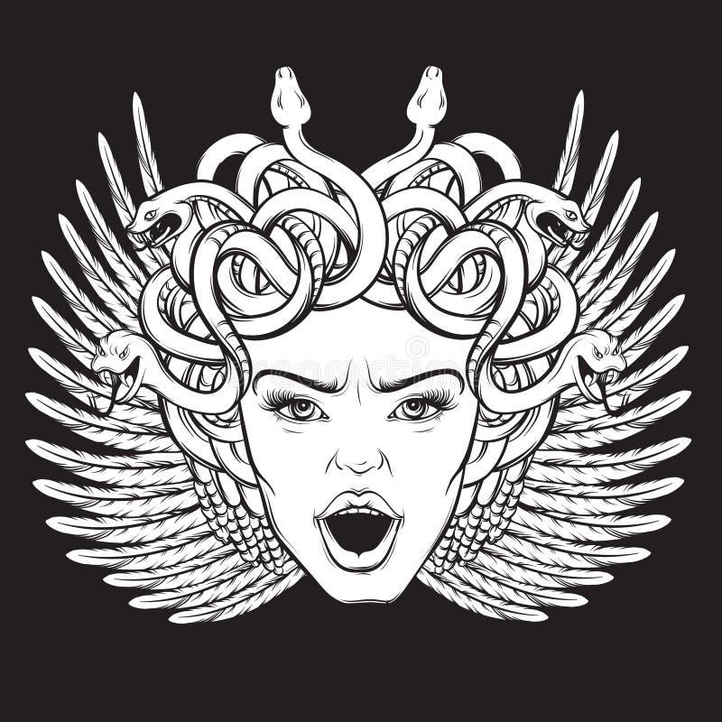 Vector el ejemplo del gorgon con las serpientes y abra la boca ilustración del vector